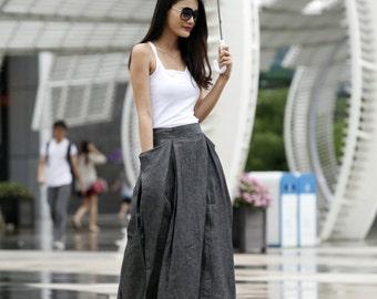 Maxi Skirt Lagenlook Big Pockets Big Sweep Long Skirt in Dark Grey Summer Linen Skirt - NC144