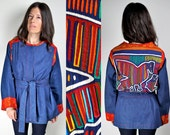 Vintage 70s Mola Denim Tie Jacket with Zodiac Signs