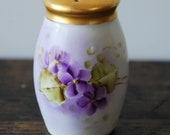 SALE Antique Bavaria Porcelain Sugar Shaker Or Muffineer With Handpainted Violets