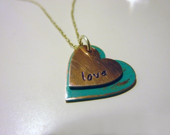Twin Hearts Verdigris Copper Necklace - Hand Stamped Love Antiqued Copper Heart Necklace by Weirdly Cute Jewelry