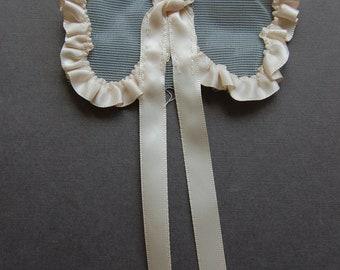 Ribbon & Tulle Bow - Peach/Blue