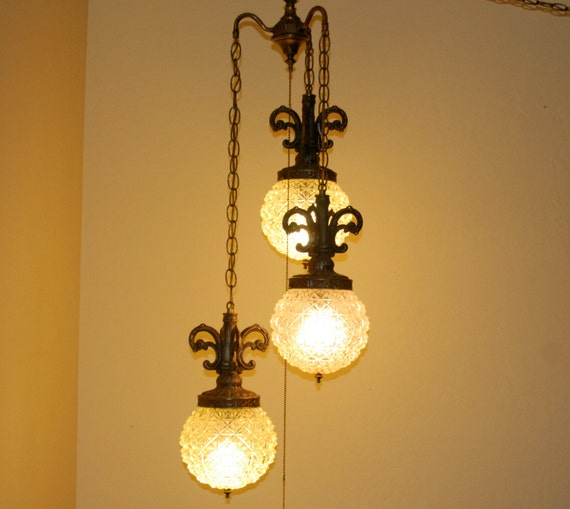 vintage swag lamp plug in with 3 pendants in cut glass globes and. Black Bedroom Furniture Sets. Home Design Ideas