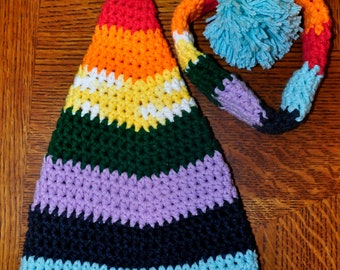 Crochet Pattern PDF - Elf / Stocking Hat - Rainbow Elf Hat - Newborn Infant Sizes - Photo Prop
