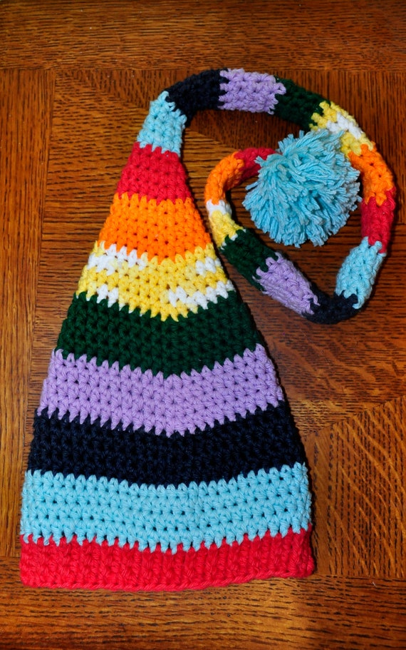 Crochet Pattern PDF Elf / Stocking Hat Rainbow Elf Hat