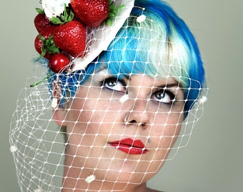 Fun Quirky Pinup Vintage Retro Kitsch Pinup Strawberries and Cream Cupcakes Fascinator
