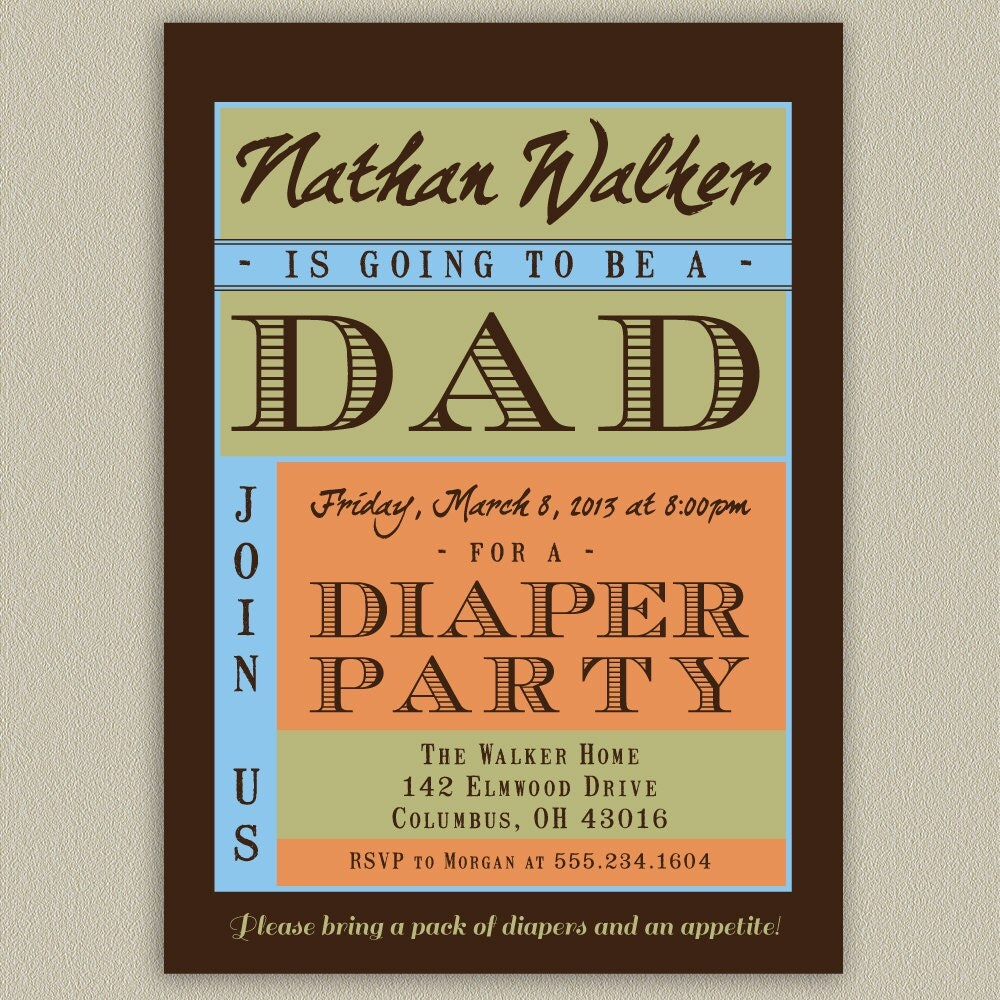 Diaper Party Shower for Dad Printable Invitation with Color