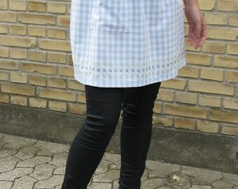 Gingham blue and white half apron - simple sampler embroidery - women's half apron