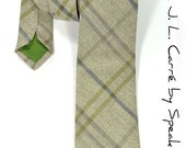 Men Necktie J.L.Carré- Woven yarn dyed grey checkered, blue and gren tie