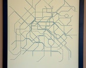 Paris Typographic Transit Map Poster - Navy