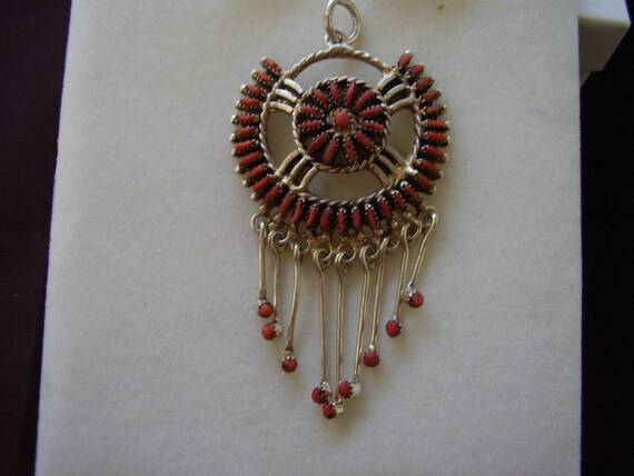 Rare Vintage Sterling Silver Zuni Petit Point Coral Pendant