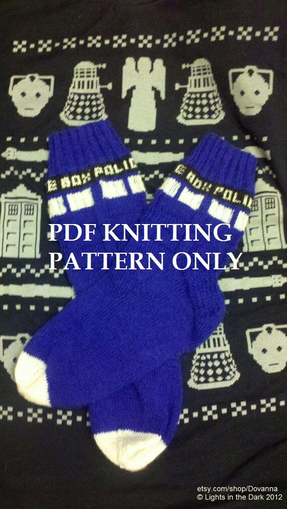 Knitting Pattern For Tardis Socks : Knitting Pattern: Doctor Who Tardis Socks