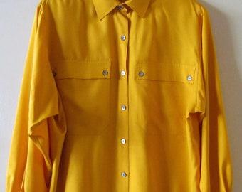 Long Sleeve Silk Shirt M L 42 Bust