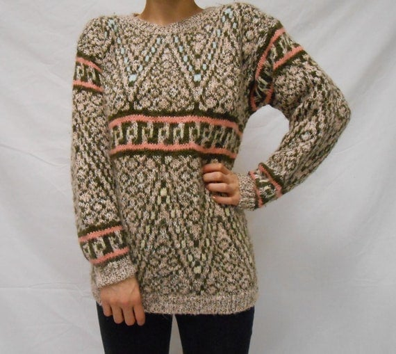 Brown, Pink & Teal Tribal Print Knit Pullover Sweater - Women's Size Medium