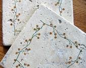 trivets, rustic, natural stone, tumbled tile - vine/berry design, set of 2