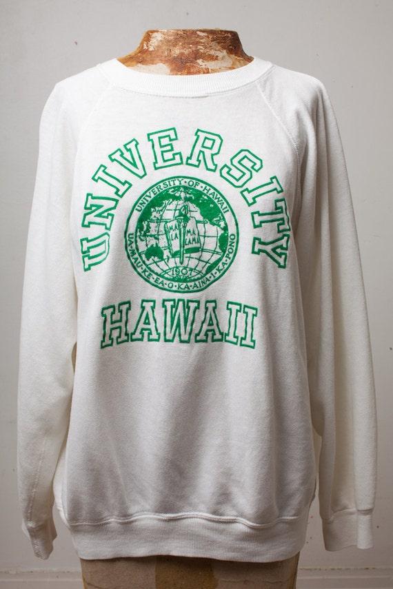 1980s University of Hawaii Super Soft White Sweatshirt w/ Green Felted Print / Size Medium Large long sleeve varsity coed soft shirt 80s