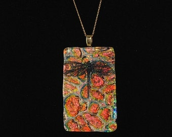 Dragonfly Fused Dichroic Glass Orange Patterned Pendant