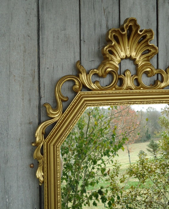 Vintage ornate mirror gilded gold large golden baroque scroll for Baroque resin mirror