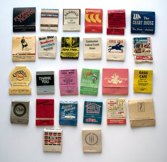 25 Matchbooks, 1970s and 80s, Star Trek, Flying Tigers, Rite Aid, scissors, motel, cafe