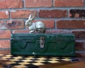 Vintage Industrial Metal Green Tool / Supply Storage Box