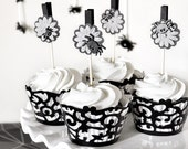 Spiders Halloween Cupcake Toppers Party Decor or Gift Favor Bag Clips Gray Scale Flowers - Set of 12 - Wish Clips