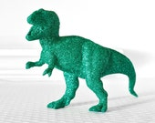 T-Rex Dinosaur in Teal Green Glitter for Baby Showers, Weddings, Birthday Decor, Boy Nursery or Fun Nerdy Home Decorations