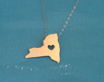 Gold New york Necklace , Independence Day Gift , I Heart NY , New york State Charm , NY Love Jewelry
