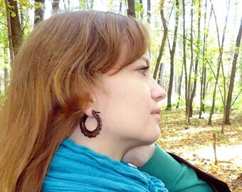 Oval Hoop Hand Carved wood Post Earrings Tribal Style - Gauges Plugs Bone Horn - PE004 W G1