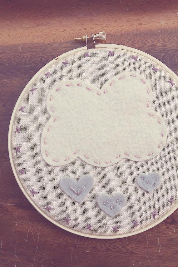 Raining Grey Hearts // Sweet Nursery Decor // Hoop Art