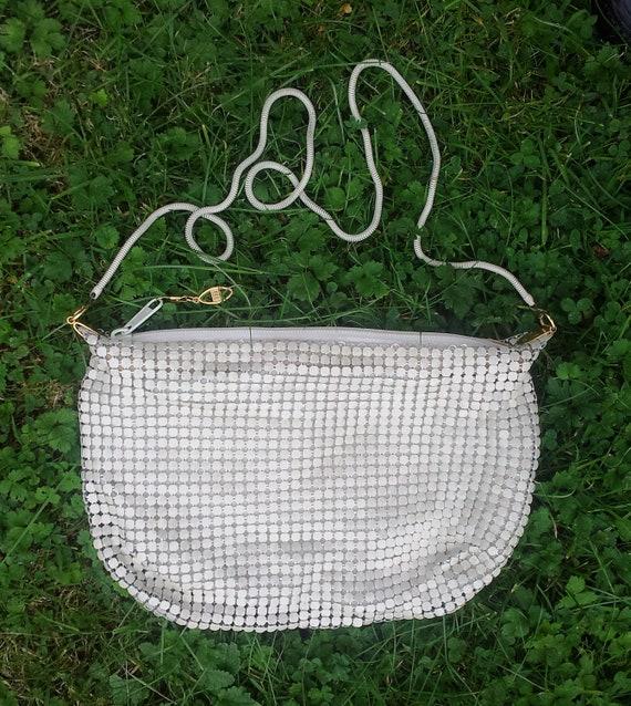 Cream Chain Mail Handbag with Shoulder Strap Goth Rockabilly Alternative Punk