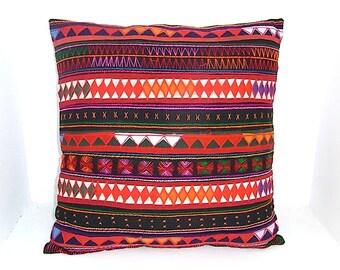 Black Red Cushion Cover Pillow HMONG Hill Tribe Thailand FAIR Trade Handmade (CS013-BK)