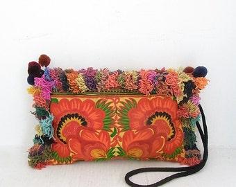 Orange Flowers and Mixed colors hair around Purse Cross-Over Bag Handmade (BG811H-OF2)