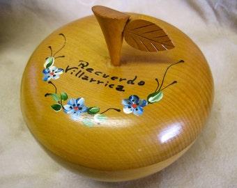 SALE Wooden Apple Box Container Collectible Recuerdo Villarrica Vintage 60s FOLK ART Hand Painted Flowers Souvenir of Chile