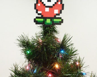 Mario Bros Piranha Plant Perler Bead Christmas Tree Topper
