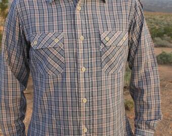 Rugged Individualism - Rad Vintage Levi's Plaid 80s Shirt, Button Up Long Sleeve with Epaulettes, Large