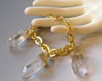 ON SALE-Gold dipped- Quartz Crystal Points- 'Charmed' Bracelet -Handmade by Pauletta Brooks.
