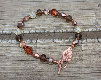 Fall Jewelry, Thanksgiving Jewelry - Autumn Czech Crystals Bracelet with Copper Leaf Toggle