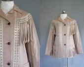 vintage jacket / 70s fringed vintage leather jacket / Pretty inPutty / size medium