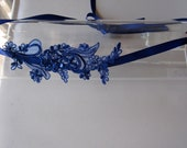 Royal Blue Beaded Lace Flower Satin Ribbon Tie Halo Headband, for weddings, parties, bridesmaid, special occasions