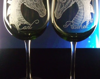 Dragon  goblets  Green  wedding Wine glass set of 2 hand engraved olive green or clear glassware gift ideas  wine and spirits