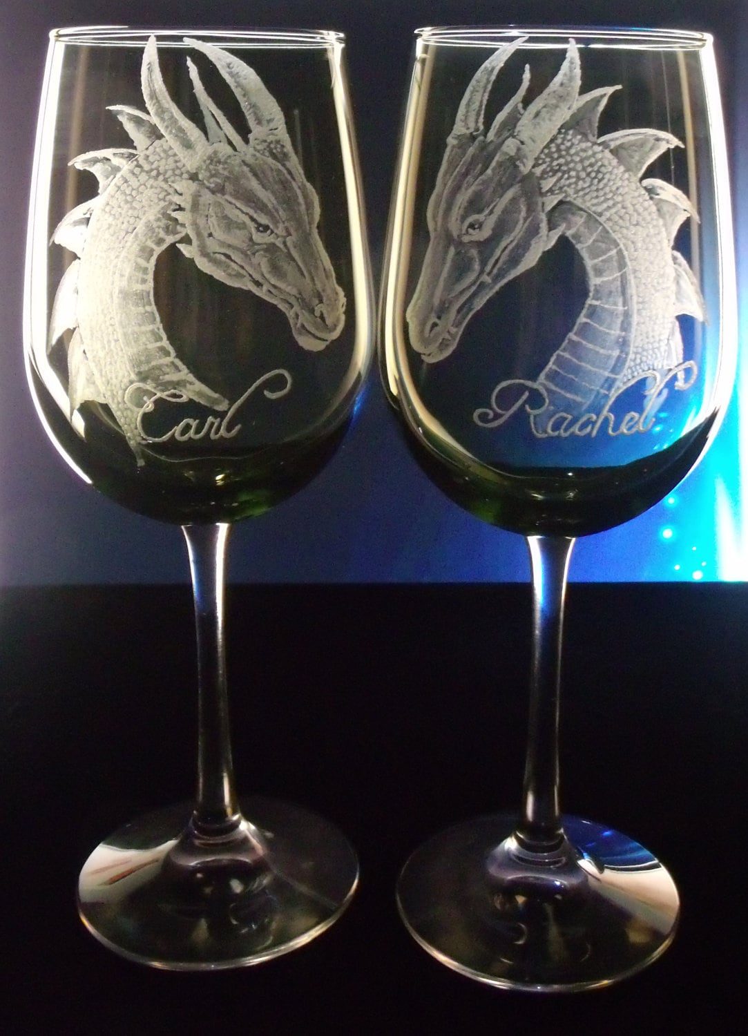 dragon goblets green wedding wine glass set of 2 hand. Black Bedroom Furniture Sets. Home Design Ideas