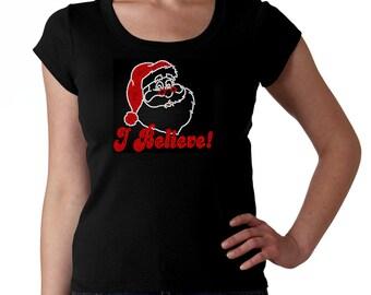 I Believe RHINESTONE t-shirt tank top sweatshirt S M L XL 2XL - Santa Christmas Bling