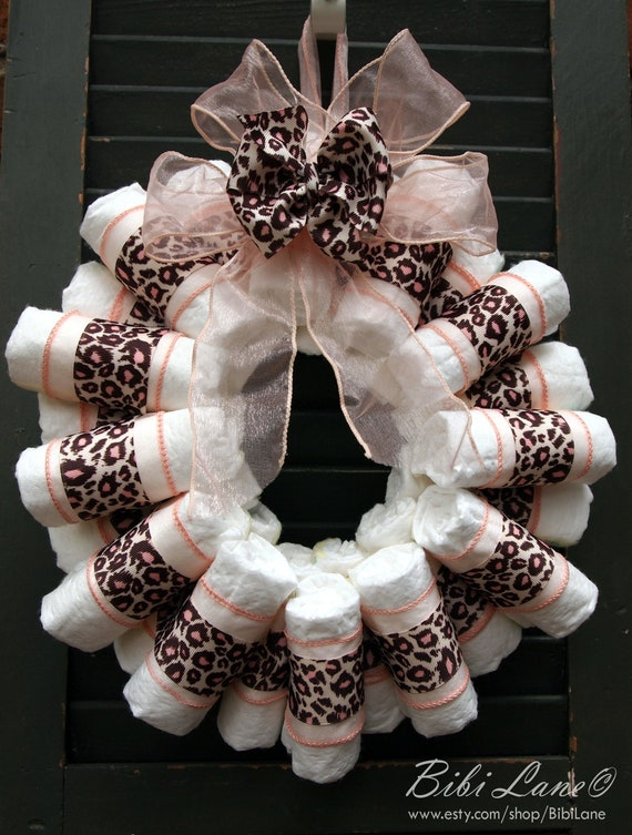 Pink Leopard Print Diaper Wreath with Hair Bow-Medium- New Baby Girl Baby Shower- READY TO SHIP