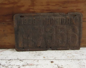 Vintage License Plate Michigan 1938 Rusty Rusted Rust Old Distressed Salvaged Metal Antique License Plate