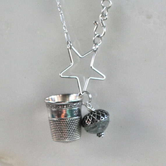 Acorn and Thimble Necklace Peter Pan Kiss Solid Sterling Silver and Prehnite - Second Star Right