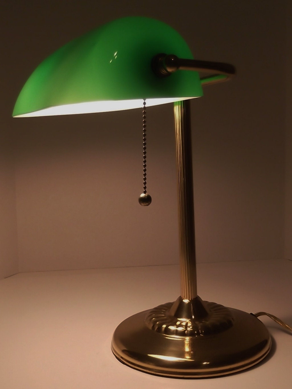 Vintage Bankers Lamp Desk Lamp Green Glass Shade