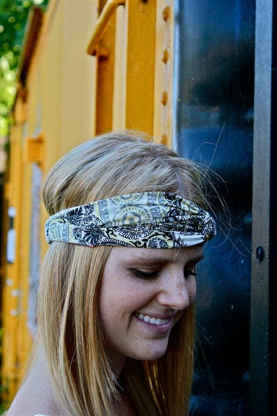 Knotted Headband, Turband, Floral, Paisley, Geometric,Yellow, Black