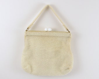 Vintage 1960s White Beaded Purse - Cream Evening Bag