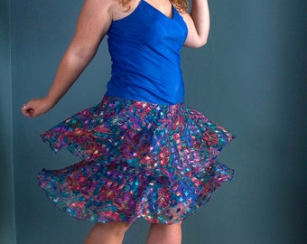 SALE /// Lets Party Hearty 1980s Vintage Pepsi Blue And Floral Cattiva Dress Sz Medium / Large