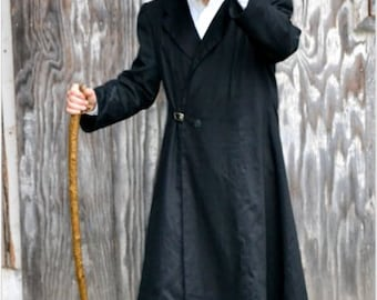 Made to order Mens Steampunk, Neo Victorian, Long Black Overcoat, Steampunk Clothing