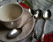 spoons vintage demitasse with apostle or monk christening baby religious sugar espresso very good condition, silver plate or nickel silver